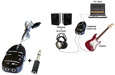 mira-tech interfaz USB para guitarra Link Cable para PC/ordenador Mac de grabación y un 1/4-inch/adaptador de 3,5 mm), color negro: Amazon.es: Electrónica