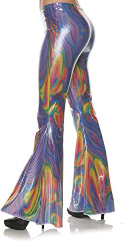 Underwraps Women's Metallic Holographic Swirl Bell Bottom Costume Pants, Multi Large/X-Large ()