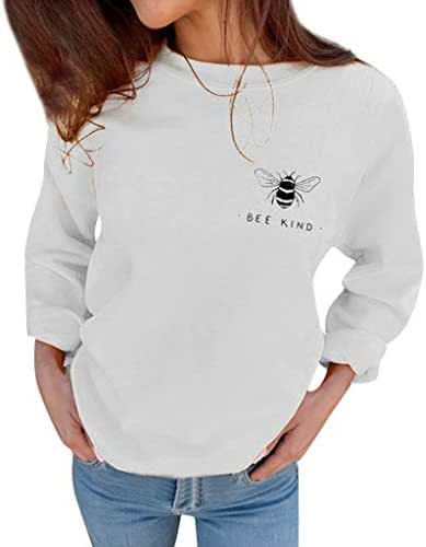 Women's Autumn Fashion Hoodie Sweatshirts Bee Kind Letter Print Casual Loose Blouses Print Outerwear T Shirt