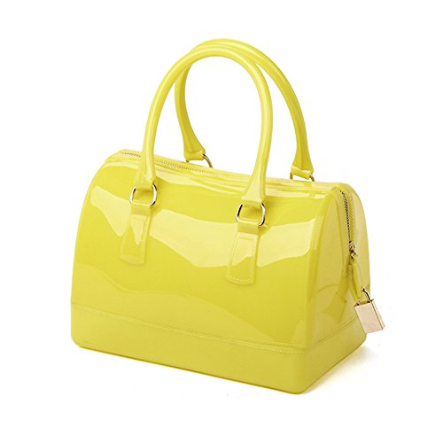 Clear Jelly Candy Color Handbag Beach Bag Candy Sweetie Mini Satchel Yellow (Candy Color Jelly Bag compare prices)