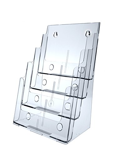 Marketing Holders Set of 4, 4-Tier Brochure Holders for Tabletop Use, 8 Total Pockets, Clear Molded Plastic Literature Racks for 4x9 Pamphlets (1, 4 (Eight Brochure Racks)