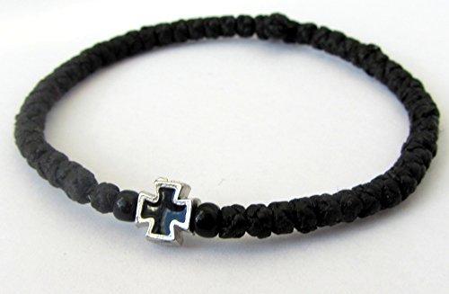 Handmade Christian Orthodox Komboskoini, Prayer Rope Bracelet Black - 5607 (5607 Cross)