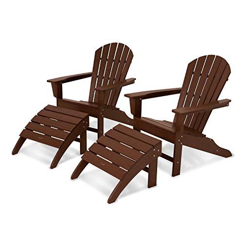POLYWOOD PWS137-1-MA South Beach 4-Piece Adirondack Chair Set, Mahogany ()
