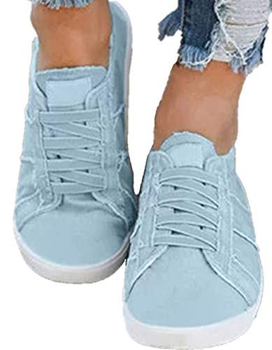 (Snowchers Womens Canvas Sneaker Shoes Slip on Flats X-Blue US 7.5)