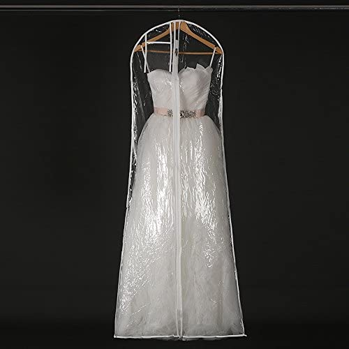 Sheer Long Wedding Dress Bridal Gown Dustproof Garment Bag Transparent Plastic