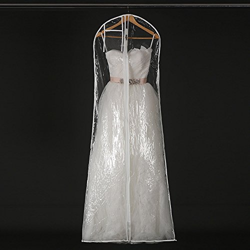Henglizh Transparent Wedding Dress Dust Cover Garment Bags Bridal Gown Bag Waterproof PVC Storage Bag Hanging Covers