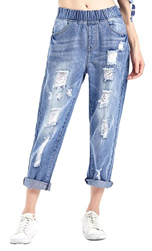 Women's Light Washed Harem Loose Ripped Jeans (Blue) - 5