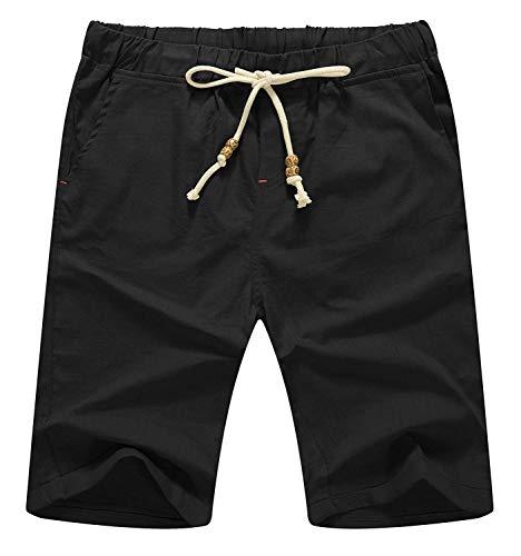Unie Été Pour Fit Facile 77 Hommes Plage Bolawoo Couleur Chic Cordon Lin Casual Court Noir Pantalon Mode De Lâche 7txwqP
