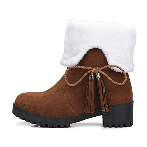 1TO9 Womens Boots Snow Boots No-Closure Kitten-Heels Warm Lining Fringed Nubuck Bootie Closed-Toe Suede Boots MNS02472 Brown cRbi95dp