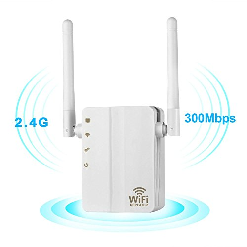 WiFi Range Extender,300Mbps Fast Speed WiFi Booster Wireless Repeater with High Gain Dual External Antennas and 360 degree WiFi Coverage