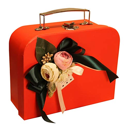 Exquisite Suitcase with Lock Buckle Pink Rectangular Large Gift Box for Birthday Party Anniversary (Size : S(25×17×8cm))]()