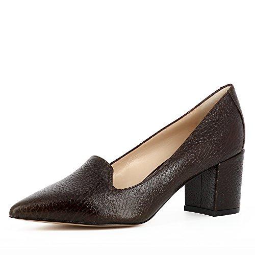 Evita Shoes ROMINA Damen Pumps Genarbtes Leder Dunkelbraun