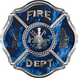REFLECTIVE Traditional Fire Department Fire Fighter Maltese Cross Sticker / Decal in Blue Inferno Flames