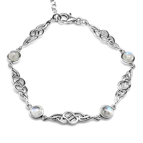 (Natural Moonstone 925 Sterling Silver Celtic Knot 7-8.5 Inch Adjustable)