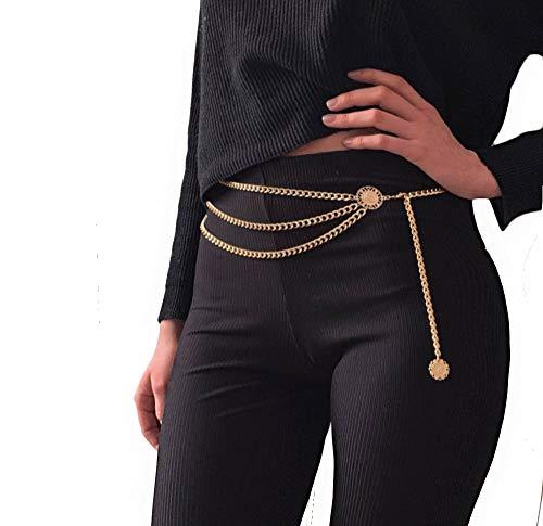 Women Trendy Multilayer Metal Link Waist Chain Waist Belt Long Tassel Sun Charm Belly Chains Body Jewelry (L size) ()