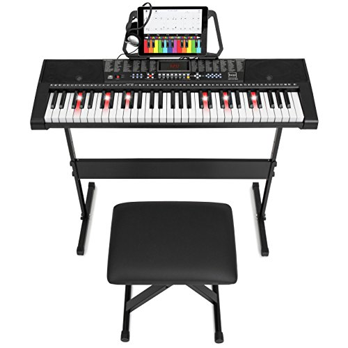 Best Choice Products Teaching Electronic Keyboard Piano Set, 61-Key w/ Adjustable H-Stand, Stool, Headphones (Black) (Beginners Piano Keyboard)