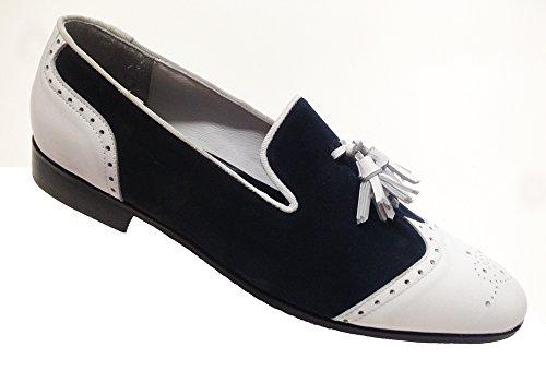 scarpe uomo, mocassini slippers in camoscio blu e vitello bianco
