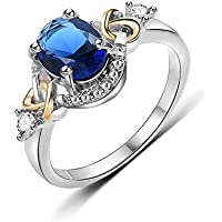 Akvode Women's Aquamarine Rings Green Sapphire Rings Blue Sapphire Ring,White Gold Filled Crystal Wedding Rings Promise Rings Size 6-9 Gifts