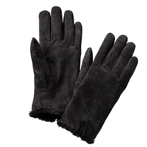 Isotoner Women Casual Suede Leather Microluxe Gloves Black Small