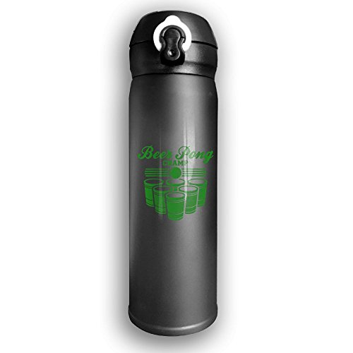 Stainless Water Bottle Design Beer Pong Champ,Sports Drinking Bottle,Leak-Proof Vaccum Cup,Travel Mug,With Bounce Cover,Black ()