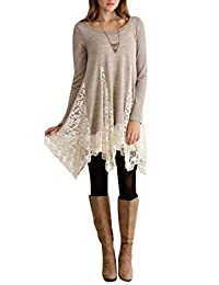 YMING Women's Multicolor Long Sleeve Casual Loose T-Shirt Dress XS-4XL
