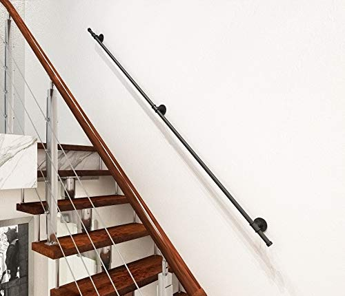 DIYHD 8FT 3 Wall Support Industrial Black Iron Loft Pipe Handrail for Stairs,Rustic Black,Straight Style