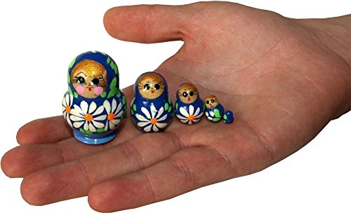 "Matryoshka Micro-dolls - 5 pc set – Stacking Toy Souvenir – Handmade Doll - Wooden Nesting Doll - Just 1.18"" Tall"