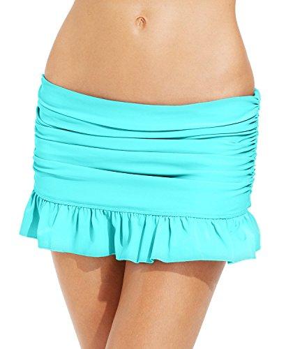 s Ruffled Swim Skirt (14, Aqua) (Aqua Ruffled Skirt)