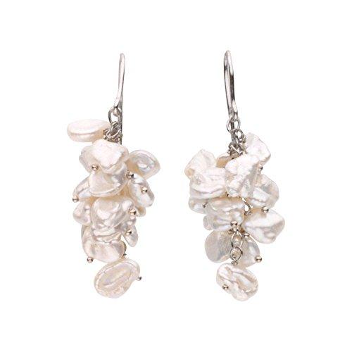 Freshwater Cultured Keshi Pearl Earrings in Sterling Silver - Freshwater Keshi Pearl Earrings