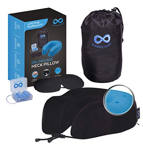Everlasting Comfort 100% Memory Foam Travel Neck Pillow, Gel Infused & Ventilated, Airplane Accessory Kit with Sleep Mask and Earplugs