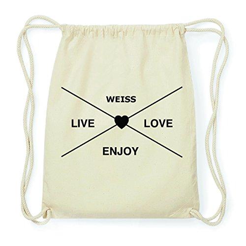 JOllify WEISS Hipster Turnbeutel Tasche Rucksack aus Baumwolle - Farbe: natur Design: Hipster Kreuz MSMbu