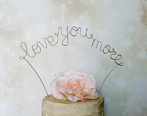 LOVE YOU MORE Wedding Cake Topper in SILVER Finish Special Event Decoration