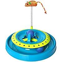 Mumoo Bear Cat Toy Interactive Play 2 in 1 Mouse Teaser Ball Track Chase Wand Motion Toys for Cats Kitten 20.6X25.3CM