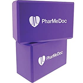 PharMeDoc Foam Yoga Blocks Set - 2-pack - High Density Foam Yoga and Pilates Exercise Bricks - Sturdy and Dense - Lightweight and Portable - Yoga Accessories for Use At Home, The Gym, Yoga Studio