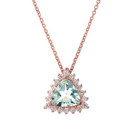 Exquisite 14k Rose Gold Diamond and Trillion Cut Aquamarine Pendant Necklace, 20