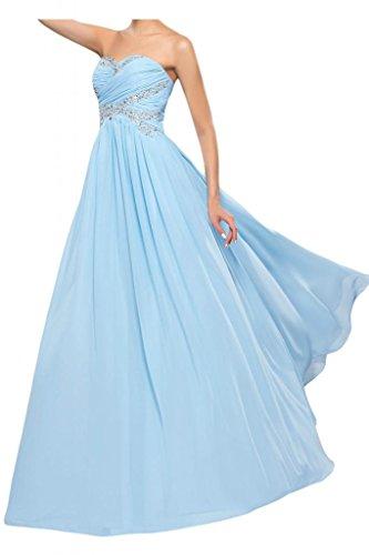 Toscana queridacámara totalmente por la noche en forma de corazón de la perla de la novia vestidos de dama de honor de la bola a la gasa largo vestidos de fiesta Hell Himmel Blau