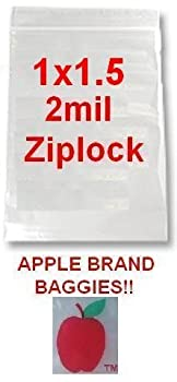 "1000 Apple Brand 1015 1x1.5 2mil Clear Ziplock Bags 1,000 Baggies 1""x1.5"" .50 ."
