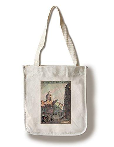 Lantern Press Colmar - Chemins de Fer d'Alsace et de Lorraine (Artist: Hansi) France c. 1921 - Vintage Advertisement (100% Cotton Tote Bag - Reusable)