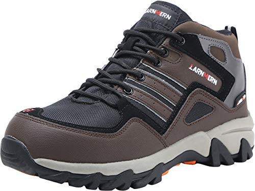 (LARNMERN Steel Toe Shoes Men, Work Safety Construction Shoe, Reflective Strip Lightweight Puncture Proof Footwear (9, Dark Brown))