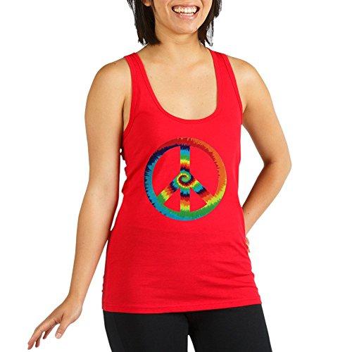 (Royal Lion Women's Racerback Tank Top Dk Tye Dye Peace Symbol - Poppy, Extra Small)