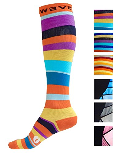 Compression Socks (1 pair) for Women & Men by Wave - Best For Running, Athletic Sports, Crossfit, Flight Travel, Maternity Pregnancy, Nursing (Happy Stripes, - Running Shorts Women's Best