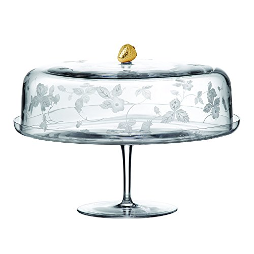 Wedgwood Wild Strawberry Glass Cake Stand, Clear