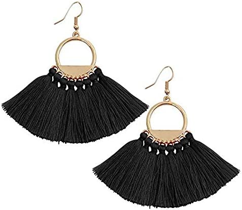 F-OXMY Wedding Tassel Earrings Crystal Thread Fringe Dangle Drop Earring for Women and Girls