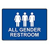 ComplianceSigns Plastic All Gender Restroom Sign, 10 X 7 in. with English Text and Symbol, White on Blue