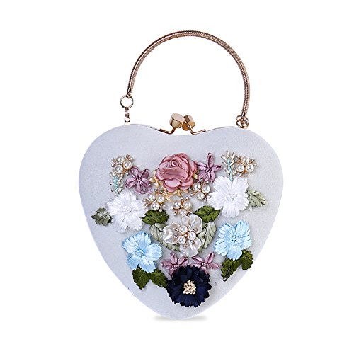 Flada Girl's Evening Clutches Silk Embroidery 3D Flower Heart-Shape Handbags Shoulder Bags White