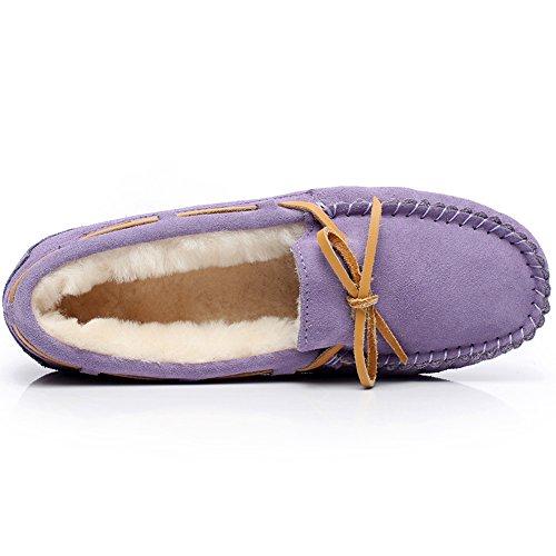 rismart Womens High-End Sheepskin Wool Lining Warm Slippers Winter Suede Moccasins Flat Loafers Purple S1017 US5.5 i6WRz