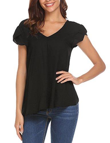 (Concep Women's Plain Tops Loose Casual Short Sleeve Chiffon T-Shirt Blouse (Black M))