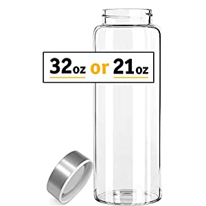 Kablo Glass Water Bottle 32 oz, 100% Borosilicate Glass