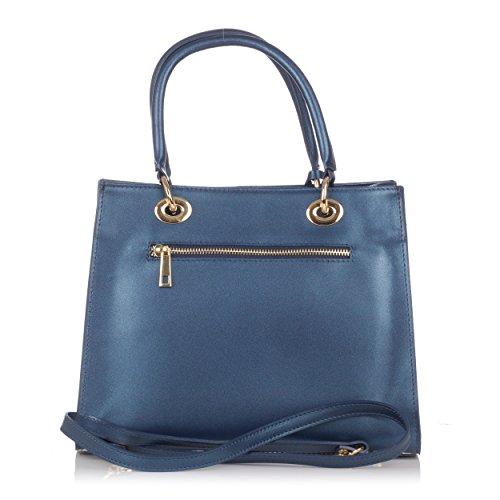 Bleu métal à en Laura en Moretti main pendentif Sac cuir avec qwxAzvw