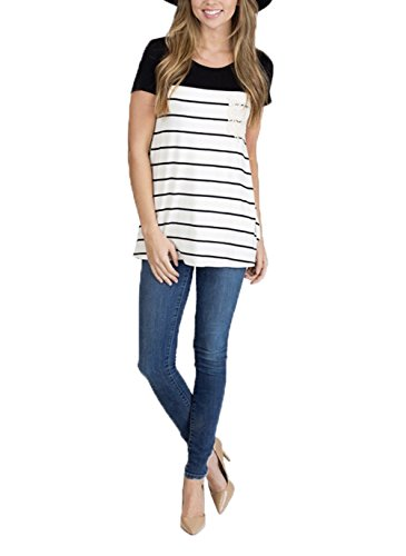 Uideazone-Women-Loose-Striped-Crew-Neck-T-shirt-Casual-Floral-Blouse-Tops